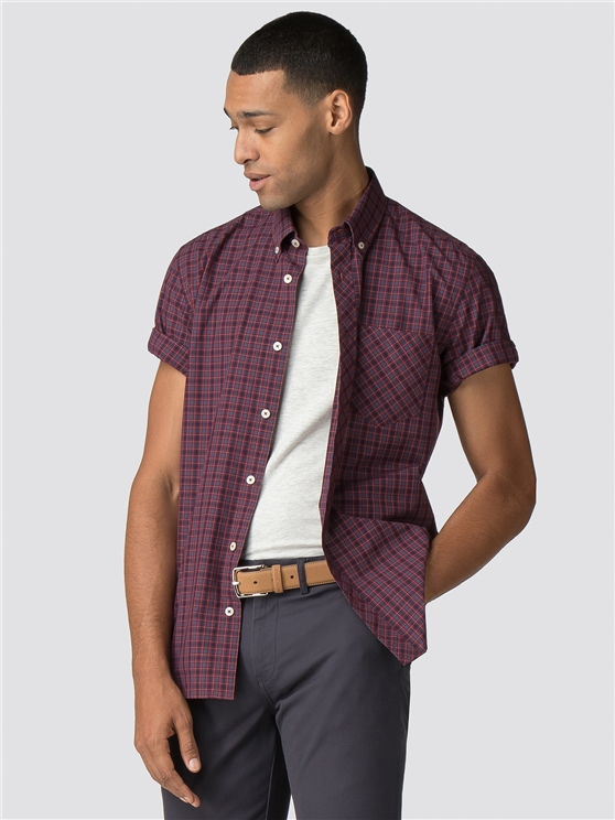 Burgundy & Brown Short Sleeve House Checked Shirt