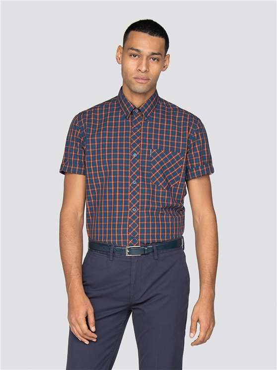 Blue & Orange Short Sleeved House Check Shirt