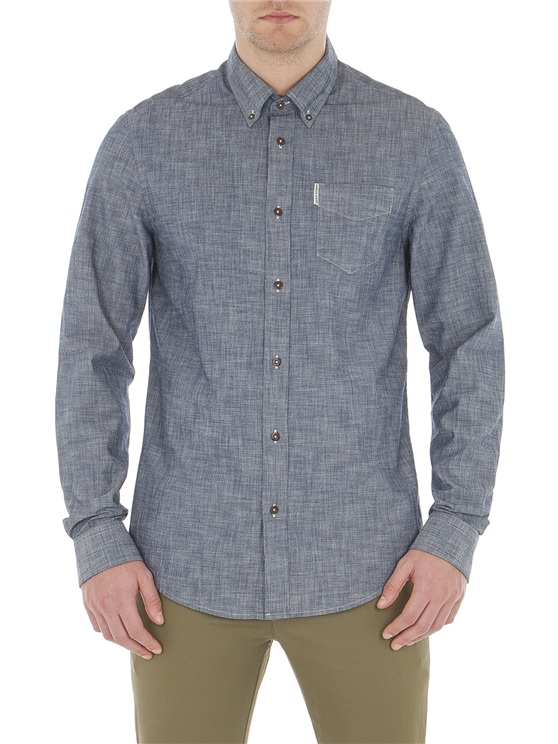 Navy Long Sleeve Chambray Texture Shirt