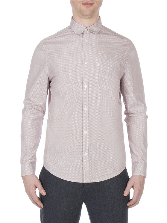 Long Sleeve Micro Linear Square Shirt