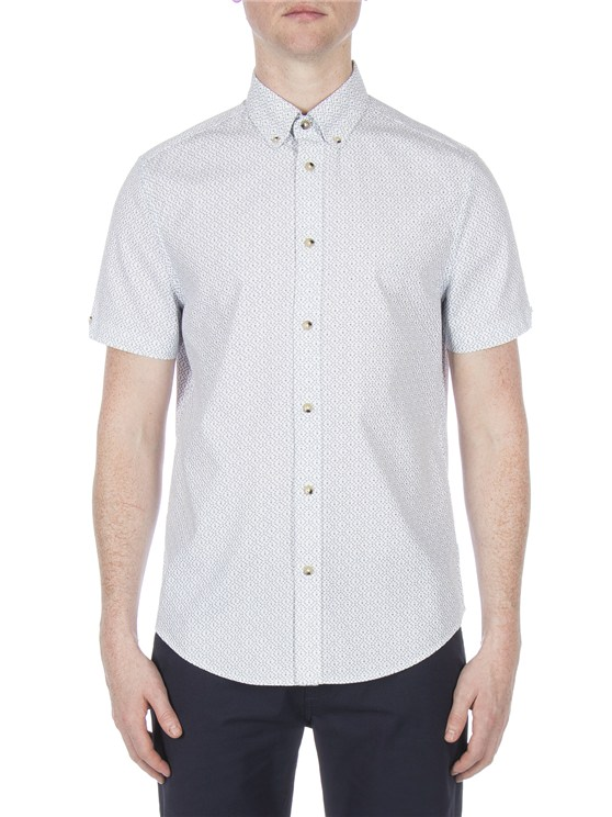 Short Sleeve Textured Dash Print Shirt