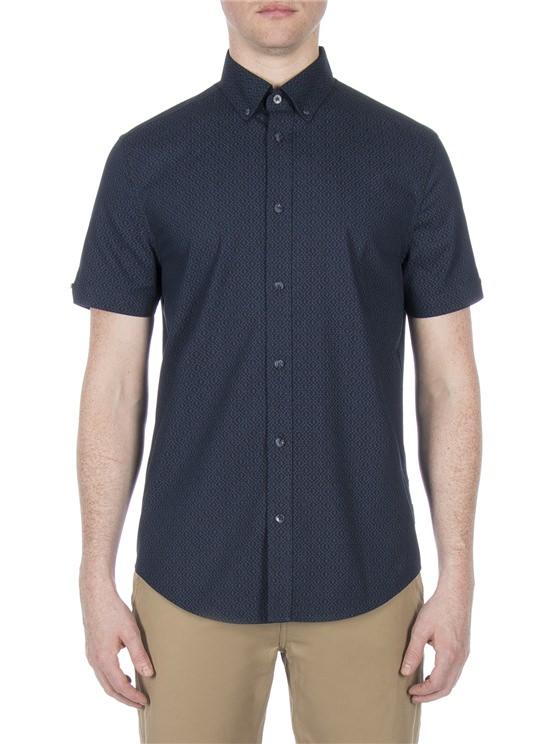 Short Sleeve Textured Dash Print Shirt