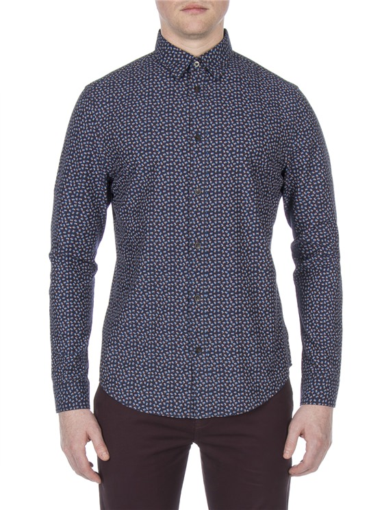 Long Sleeve Micro Twill Floral Shirt