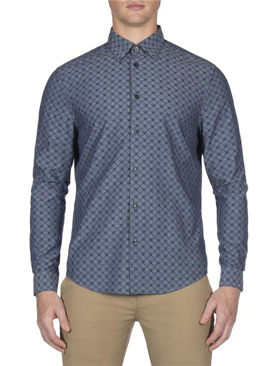 Long Sleeve Chambray Retro Spot Shirt