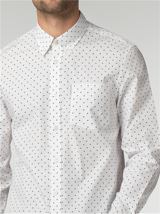 White Long Sleeve Polka Dot Shirt