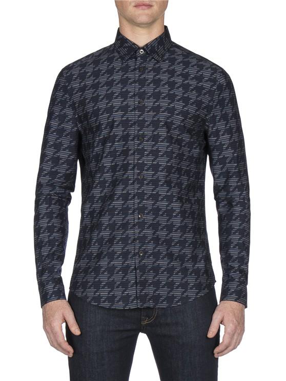 Long Sleeve Linear Dogtooth Overprint Shirt