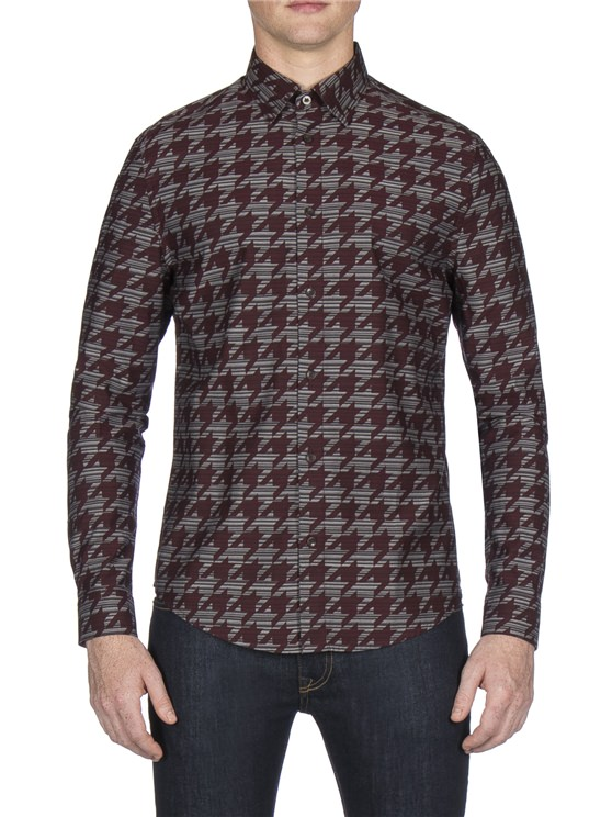 Wine Long Sleeve Dogtooth Shirt