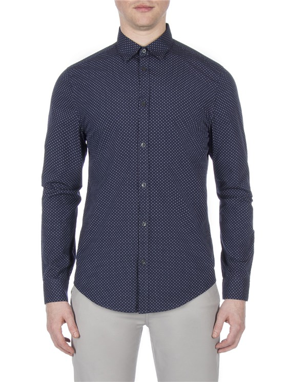 Long Sleeve Textured Spot Shirt