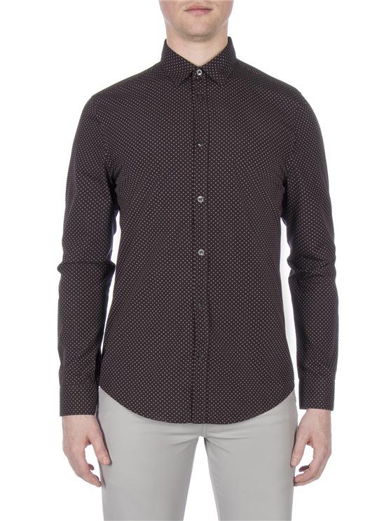 Wine Long Sleeve Textured Spot Shirt
