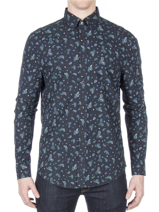 Long Sleeve Marl Paisley Shirt