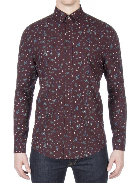 Long Sleeve Marl Paisley Shirt