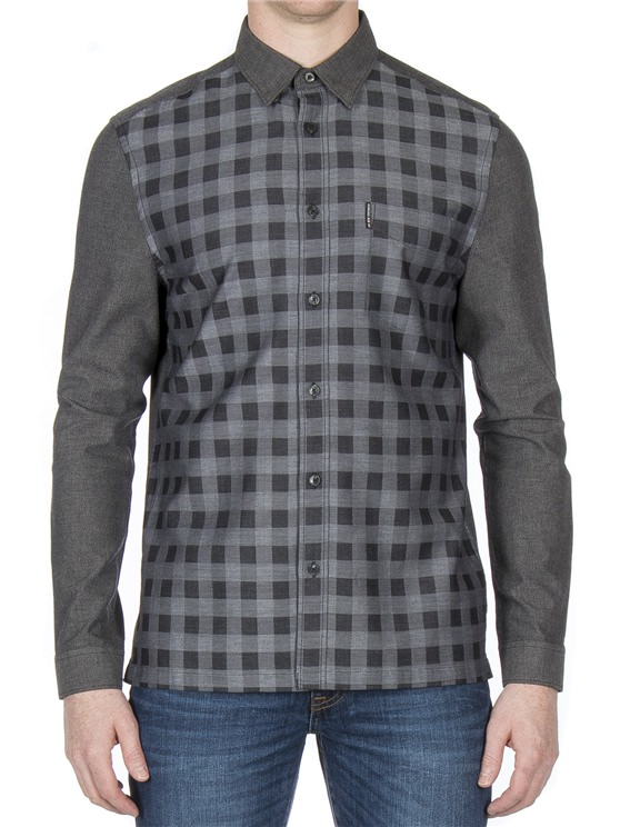 Long Sleeve Check Front Dobby Shirt