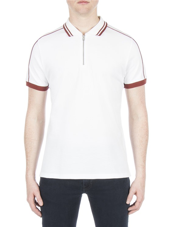 White Zip Polo Shirt