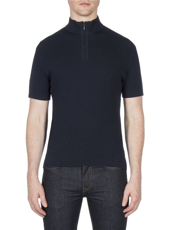 Funnel Neck Knitted Polo Jumper