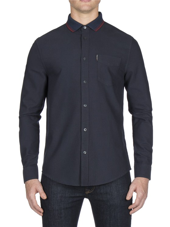 Long Sleeve Knitted Collar Oxford Shirt