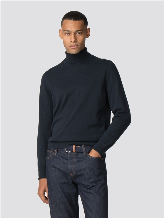 Dark Navy Fine Gauge Roll Neck Jumper