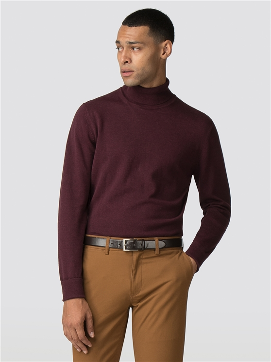 Wine Red Roll Neck Jumper