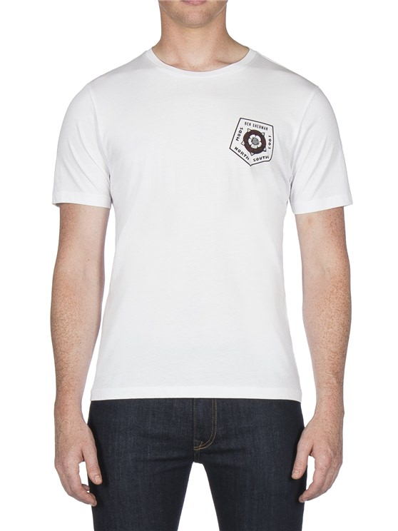 White Badge Back Print T-Shirt