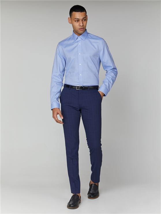 Blue Long Sleeve Oxford Formal Shirt