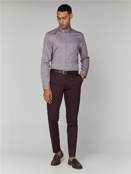 Wine Long Sleeve Oxford Formal Shirt