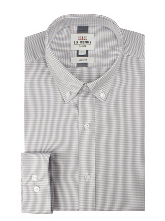 Grey Long Sleeve Formal Gingham Shirt