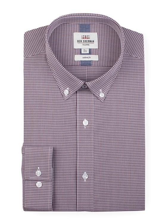Long Sleeve Gingham Formal Shirt