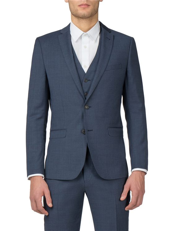 Blue Textured Tonic Camden Fit Three Piece Suit
