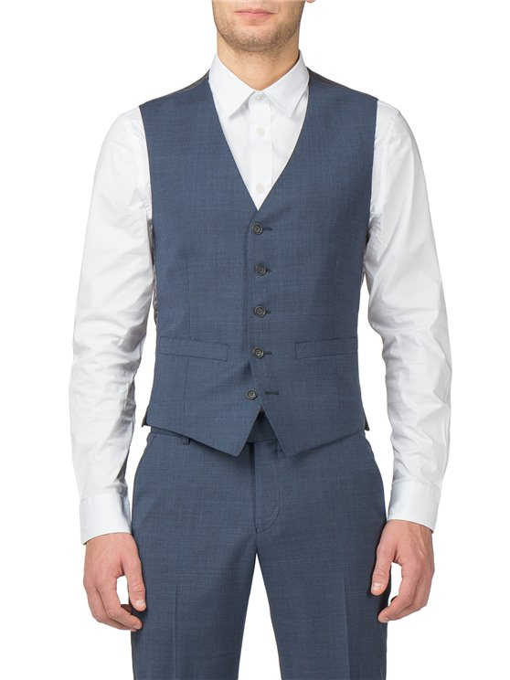 Bright Blue Textured Tonic Camden Fit Waistcoat