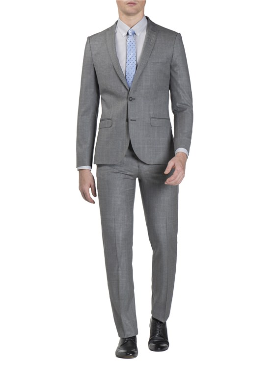 Grey Windowpane Check Jacket