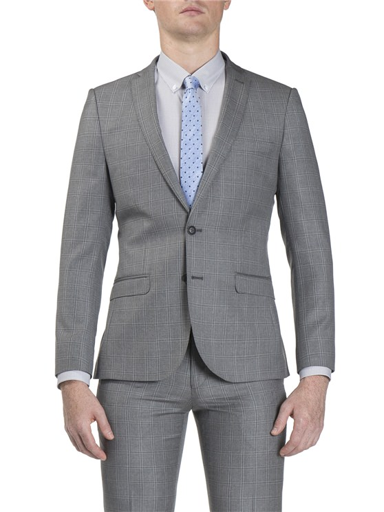 Grey Windowpane Check Jacket