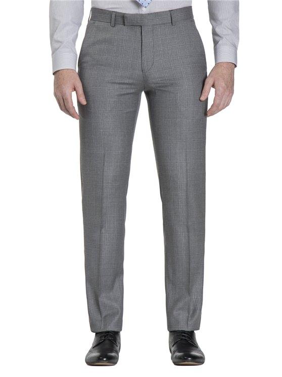 Smoked Grey Windowpane Check Camden Fit Trouser