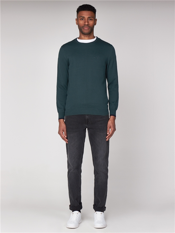Green Tipped Crew Neck Jumper