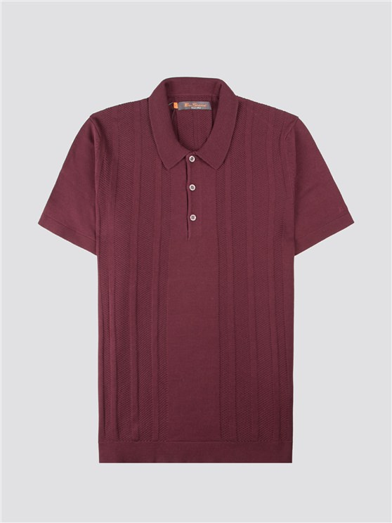 Textured Mod Stripe Knitted Polo