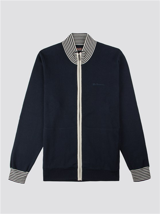 STRIPE TRIM RIBBED FUNNEL NECK- currently unavailable