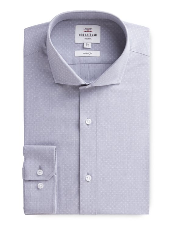 Long Sleeve Grey Dobby Formal Shirt