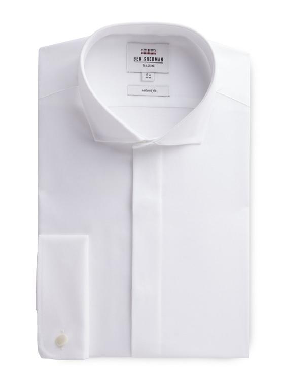 Long Sleeve White Textured Formal Shirt
