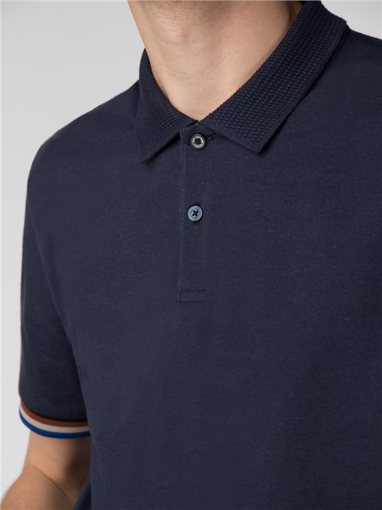 THE SHARP FABRIC MIX COLLAR POLO- currently unavailable