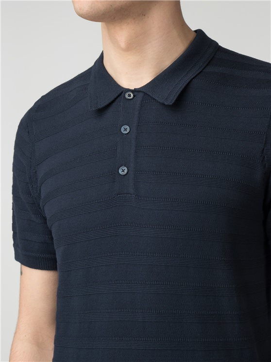 Navy Striped Knitted Polo Shirt