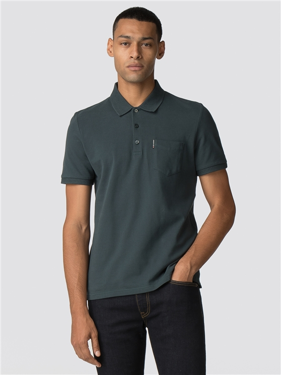Green Honeycomb Jacquard Collar Polo