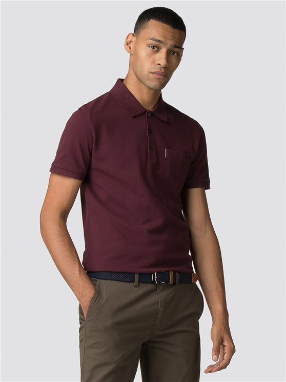 Burgundy Honeycomb Jacquard Collar Polo