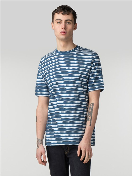 Blue & White Distorted Stripe Crew Neck T-Shirt