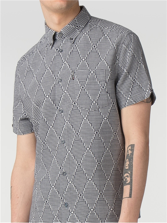 Short Sleeve Warped Stripe Shirt