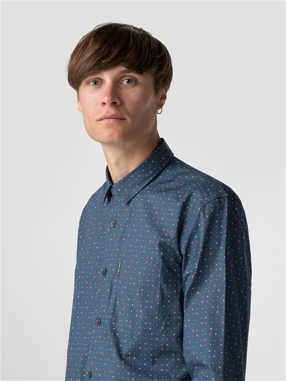 Blue Long Sleeve Scattered Geo Print Shirt