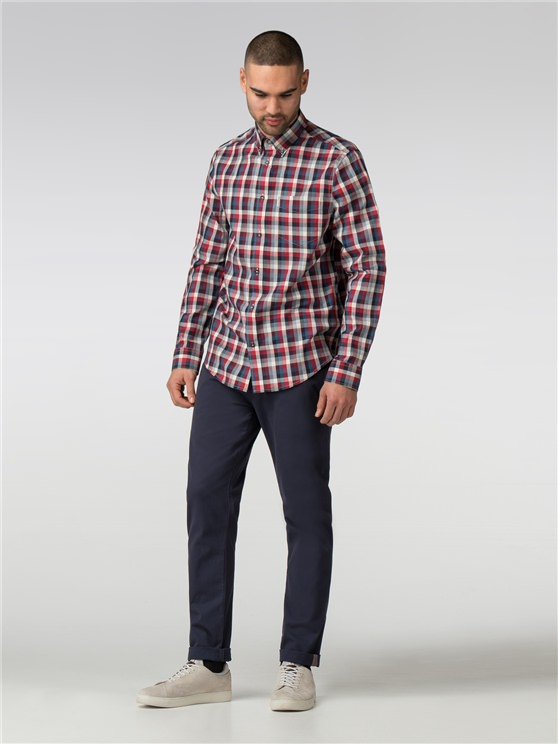 Long Sleeve Irregular Gingham Shirt