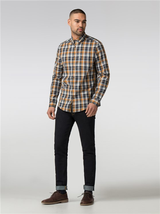 Long Sleeve Irregular Gingham Shirt