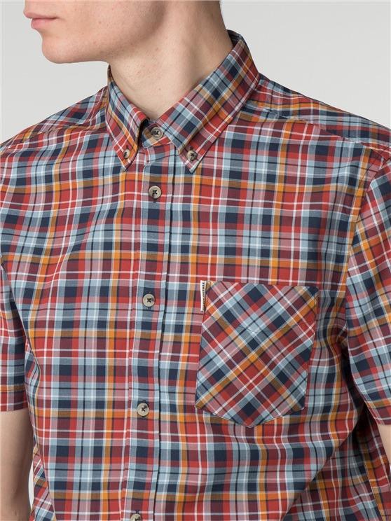 57db9db6fc Short Sleeve Multicolour Check shirt coloured In Syrah