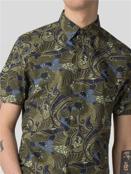 Short Sleeve Psychedelic Floral Shirt- currently unavailable
