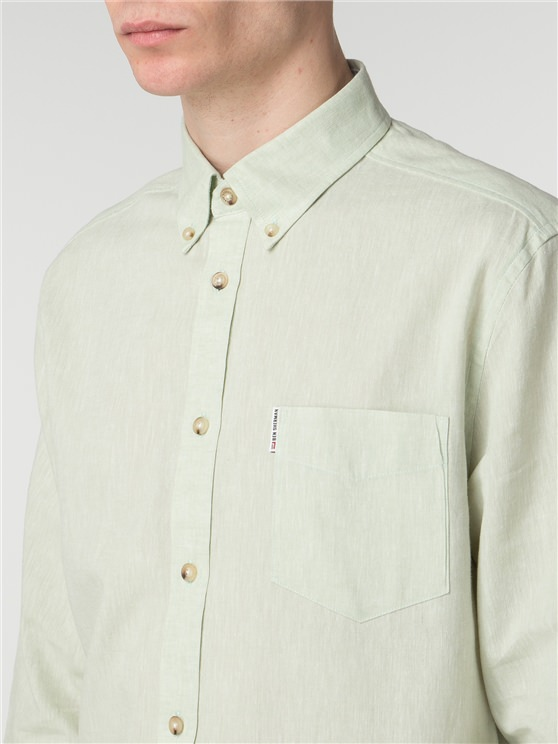 Long Sleeve Plain Linen Shirt