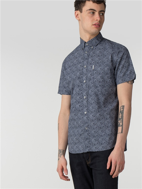 Short Sleeve Stencil Floral Shirt
