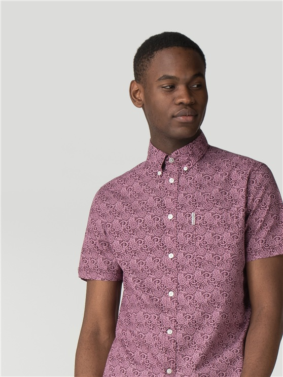 Short Sleeve Stencil Floral Shirt
